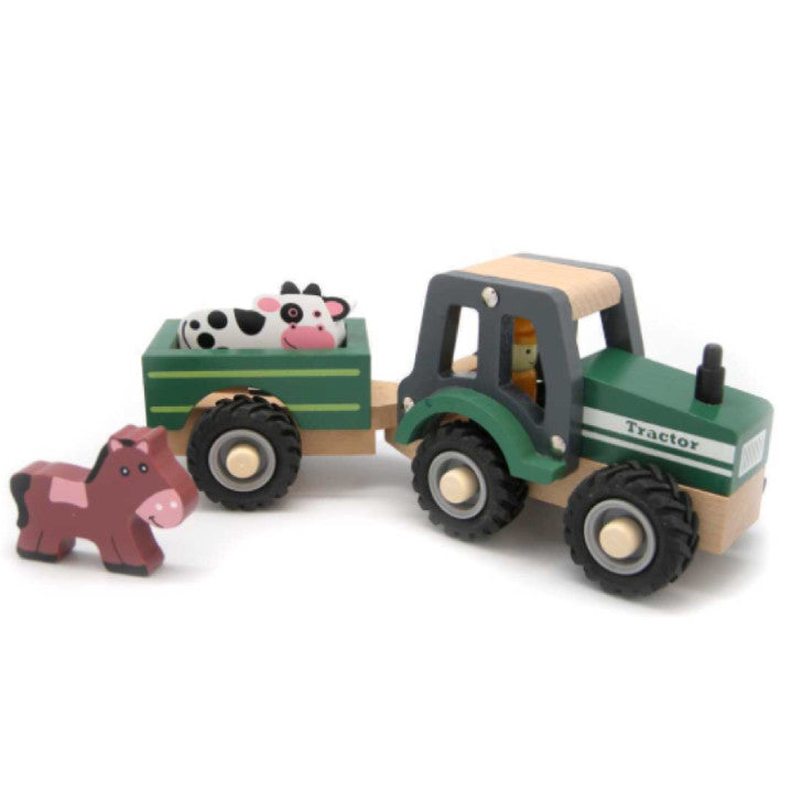 Wooden Vehicle - Tractor Green with trailer - Rourke & Henry Kids Boutique