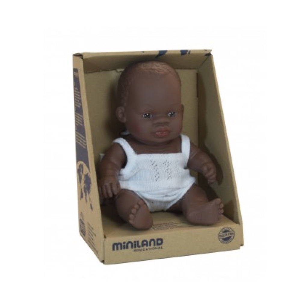 Miniland - 21cm African Baby Doll Girl