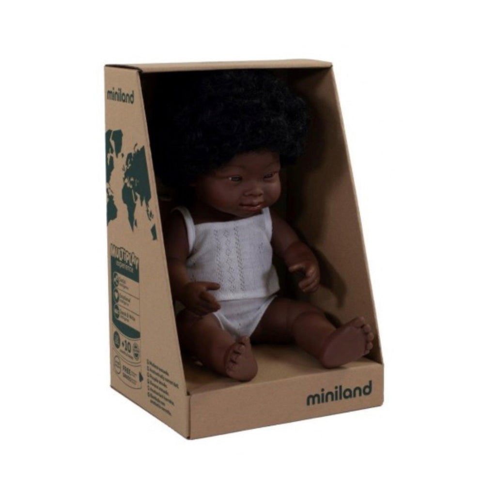 Miniland - 38cm African Baby Doll Down Syndrome Girl