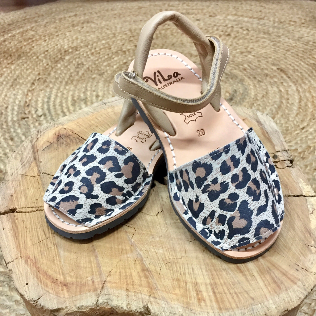 Vila Spanish Sandal - Singapur Leopard Leather - Rourke & Henry Kids Boutique
