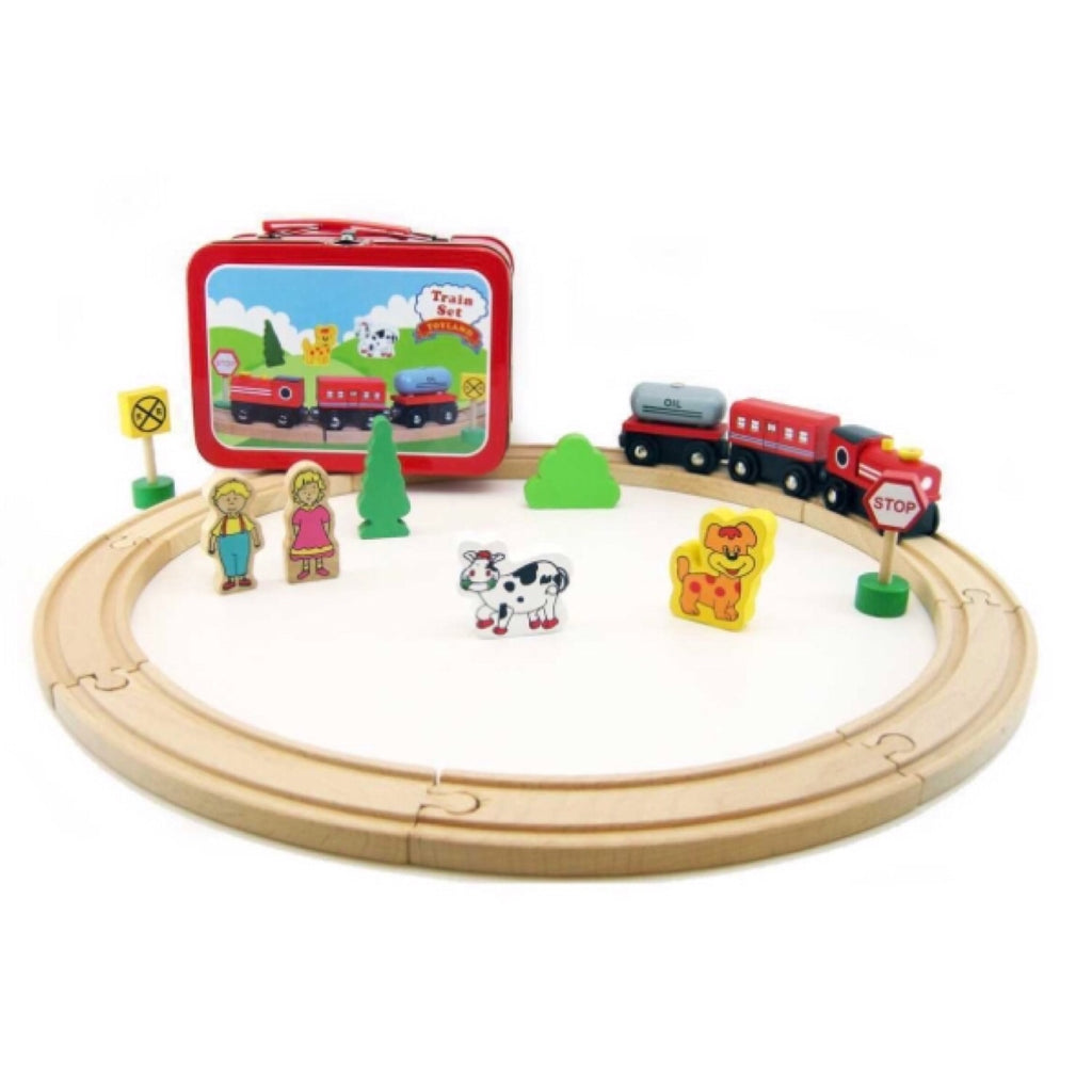 Tin Case Set - Wooden Train