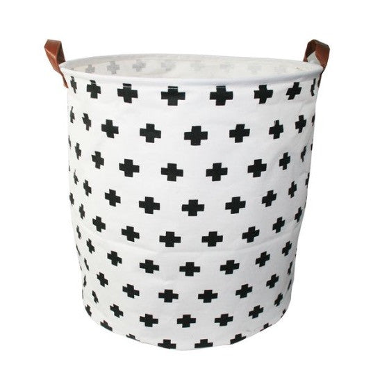 Canvas Storage Basket - Swiss Cross - Rourke & Henry Kids Boutique