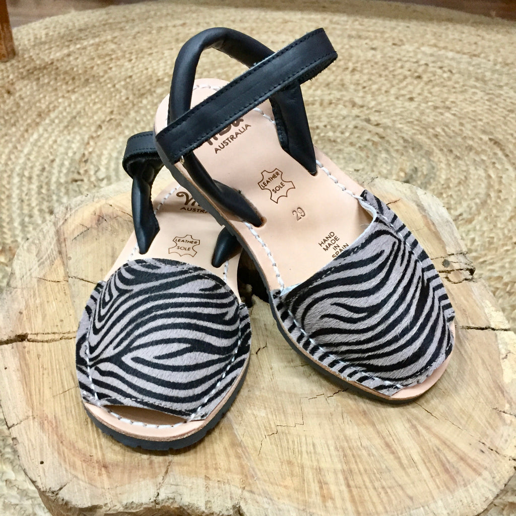 Vila Spanish Sandal - Mini Zebra Taupe Leather - Rourke & Henry Kids Boutique