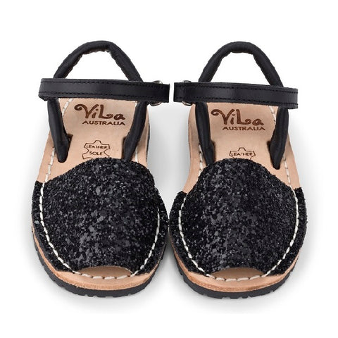 Vila Spanish Sandal - Glitter Black Leather