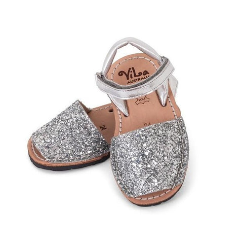 Vila Spanish Sandal - Glitter Silver Leather