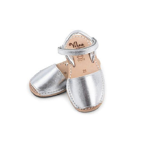 Vila Spanish Sandal - Metallic Silver Leather
