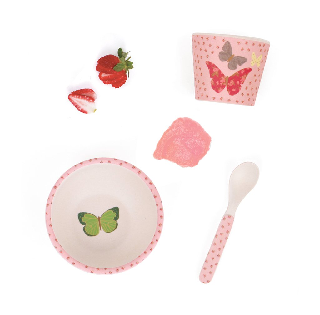 Love Mae - Bamboo Dinnerware 3 piece set Butterflies - Rourke & Henry Kids Boutique