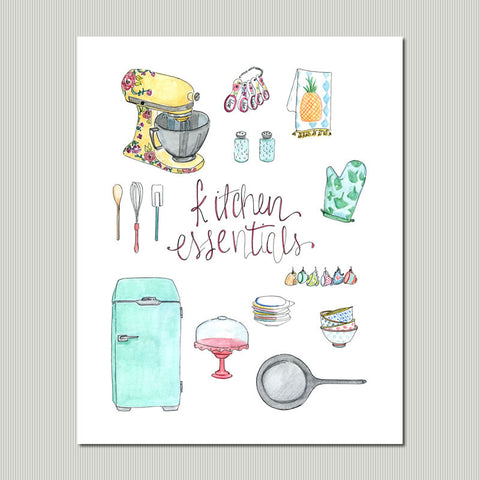 Colorful Kitchen Essentials Wall Art Print