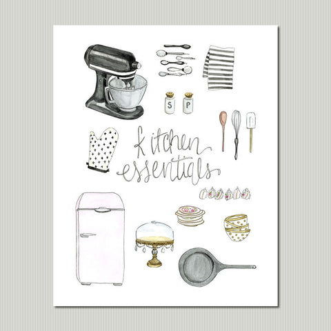 Neutral Kitchen Essentials Wall Art Print