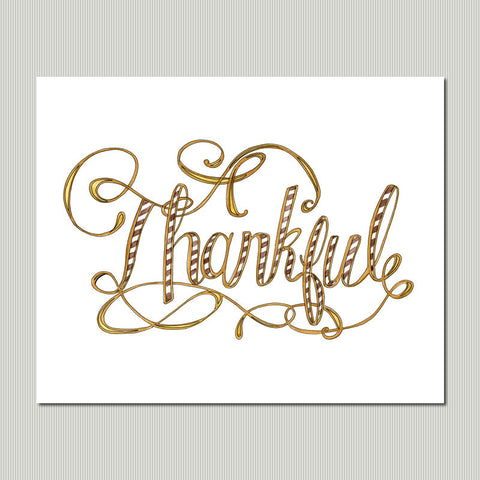 Hand Lettered Art Print - Thankful