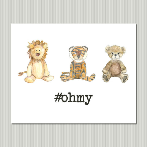Lions Tigers Bears Kid Room Wall Art Print