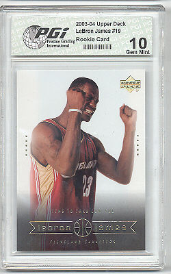 Upper Deck 2003 UDA Hot LeBron James PGI 10 Rookie Card 19