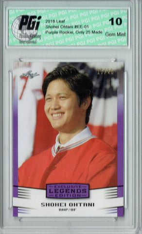 Shohei Ohtani 2018 Leaf Legends Purple SP, Jersey #17/25 Rookie Card PGI 10