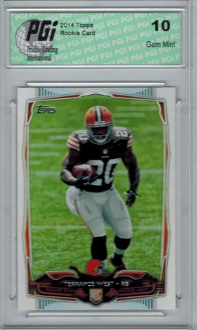 2014 Topps Football #384 Terrance West, Cleveland Browns RC Rookie Card PGI 10