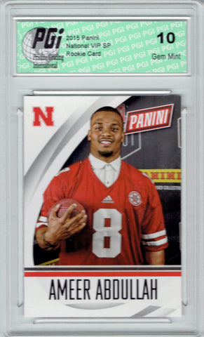 Ameer Abdullah 2015 National VIP White Rookie Card #65 PGI 10 Lions