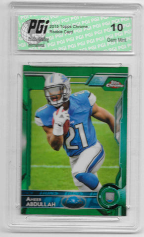 Ameer Abdullah 2015 Topps Chrome Green Refractor Rookie Card #111 PGI 10