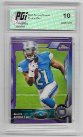 Ameer Abdullah 2015 Topps Chrome Purple Refractor Rookie Card #111 PGI 10