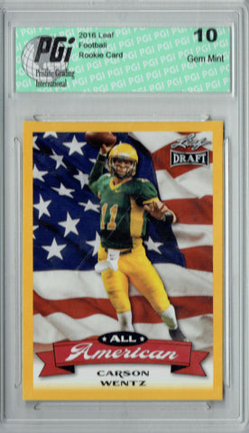Carson Wentz 2016 Leaf All-American #AA-02 Gold Border Rookie Card PGI 10