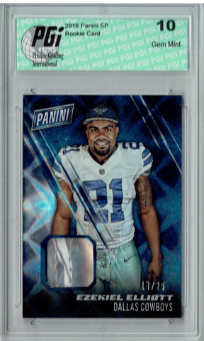 Ezekiel Elliott 2016 Panini SP #14/25 Made Player Worn Hat Rookie Card PGI 10