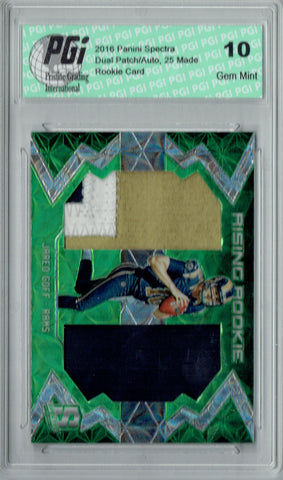 Jared Goff 2016 Spectra Green #6/25 Dual Patch SP Rookie Card PGI 10