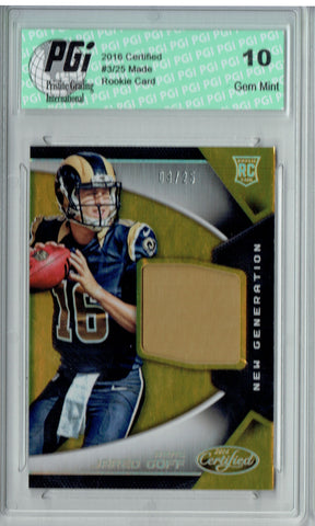 Jared Goff 2016 Panini Certified #3/25 Gold Patch SP Rookie Card PGI 10