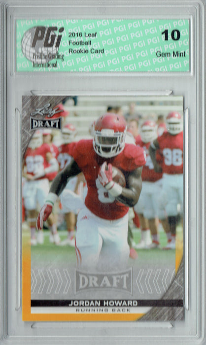 Jordan Howard 2016 Leaf Draft #44 Gold SP Rookie Card PGI 10