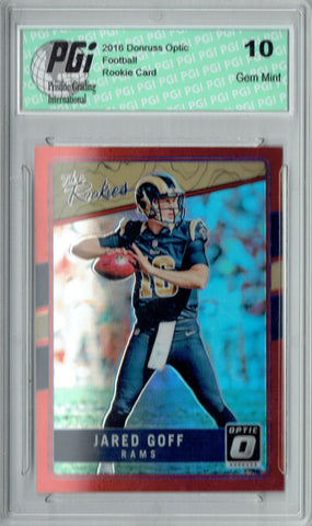 Jared Goff 2016 Donruss Optic #TR-JG Red Refractor 99 Made Rookie Card PGI 10