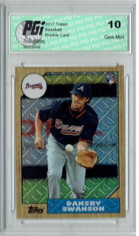 Dansby Swanson 2017 Topps #87-DS 1987 Chrome Refractor Rookie Card PGI 10