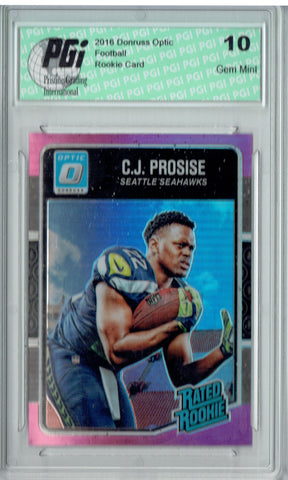 C.J. Prosise 2016 Donruss Optic #154 Pink Refractor Rookie Card PGI 10