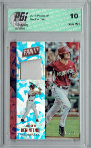 Andrew Benintendi 2016 Cracked Ice #C4 Jersey 25 Made Rookie Card PGI 10