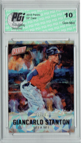 Giancarlo Stanton 2015 Panini Cracked Ice #11 Only 25 Made Card PGI 10