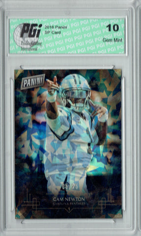 Cam Newton 2016 Panini Cracked Ice #6 Only 25 Made Card PGI 10