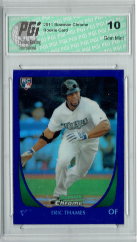 Eric Thames 2011 Bowman Chrome #87 Purple Refractor Rookie Card PGI 10