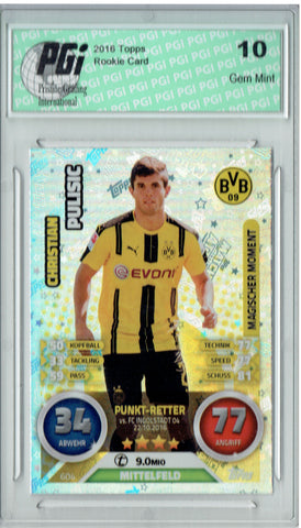 Christian Pulisic 2016 Topps Update #BVB09 Refractor Rookie Card PGI 10