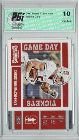 Christian McCaffrey 2017 Contenders #7 Game Tickets Rookie Card PGI 10