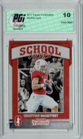Christian McCaffrey 2017 Contenders #7 School Colors Rookie Card PGI 10