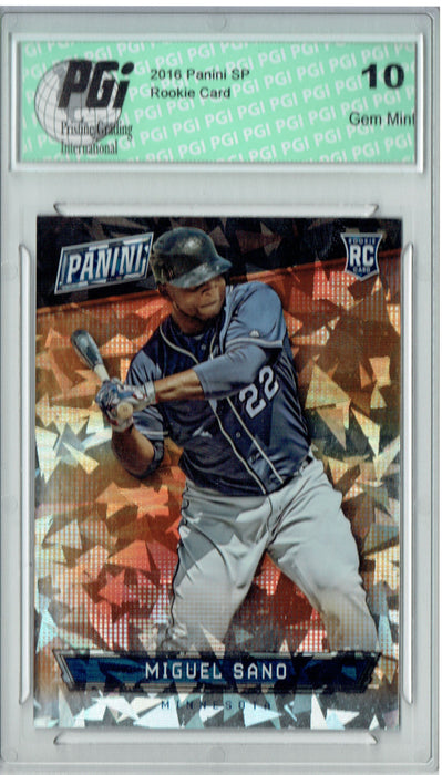 Miguel Sano 2016 Panini Cracked Ice #68 Only 25 Made Rookie Card PGI 10