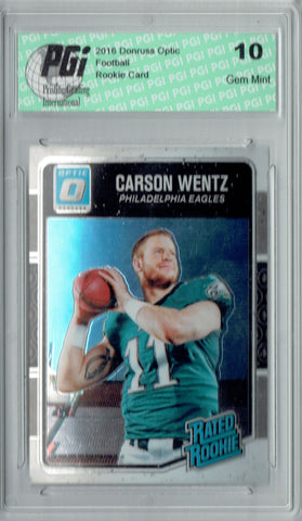 Carson Wentz 2016 Donruss Optic #156 Rookie Card PGI 10