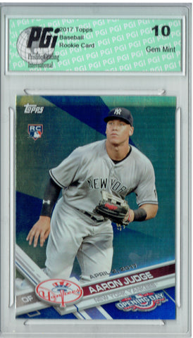 Aaron Judge 2017 Topps Opening Day #147 Blue Foil SP Rookie Card PGI 10