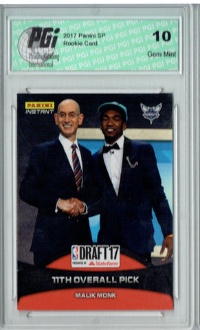 Malik Monk 2017 Panini Draft Day #15 Only 182 Made Rookie Card PGI 10