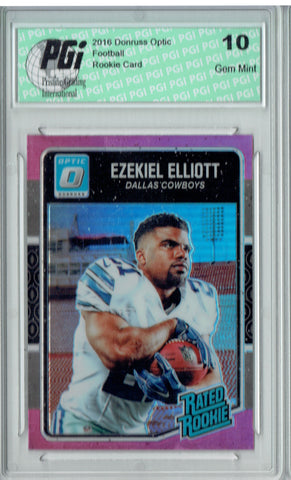 Ezekiel Elliott 2016 Donruss Optic #168 Pink Refractor Rookie Card PGI 10
