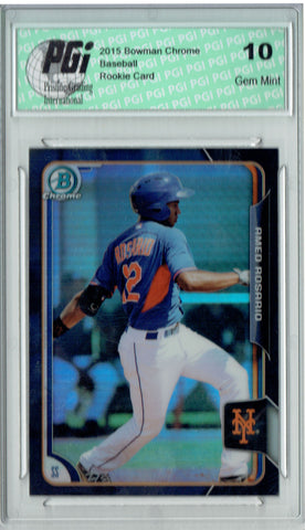 Amed Rosario 2015 Bowman Chrome #163 Black Refractor Rookie Card PGI 10