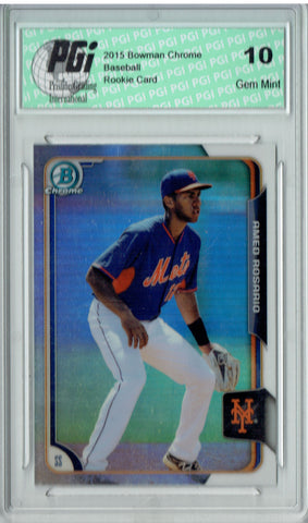 Amed Rosario 2015 Bowman Chrome #BCP23 Refractor, 499 Made Rookie Card PGI 10