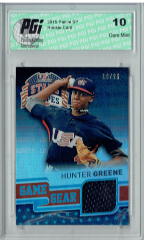 Hunter Greene 2015 Panini USA #41 Patch #19/25 Made Rookie Card PGI 10