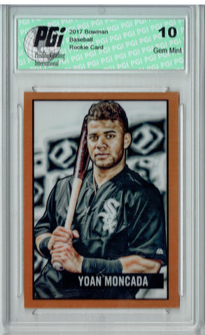 Yoan Moncada 2017 Topps #2 Orange Refractor 25 Made Rookie Card PGI 10