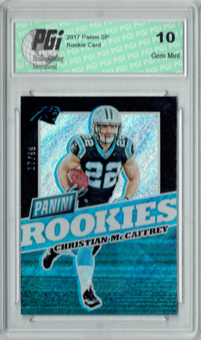 Christian McCaffrey 2017 Panini #FB32 Glitter SP 99 Made Rookie Card PGI 10