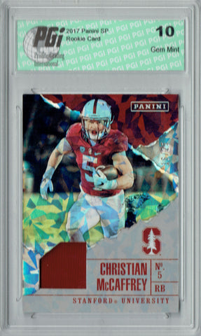 Christian McCaffrey 2017 Panini #C4 Jersey SP, 25 Made Rookie Card PGI 10