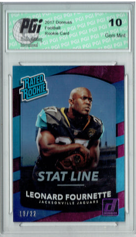 Leonard Fournette 2017 Donruss #312 Stat Line #18/22 Rookie Card PGI 10