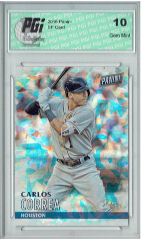 Carlos Correa 2016 Panini Cracked Ice #16 Only 25 Made Card PGI 10