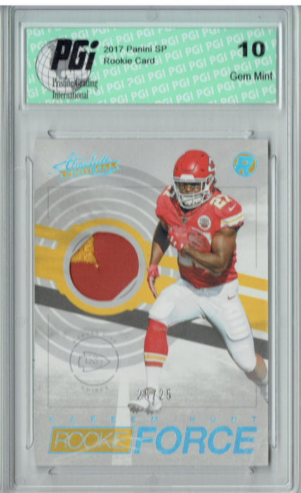 Kareem Hunt 2017 Absolute Rookie Force #17  Patch #25/25 Rookie Card PGI 10